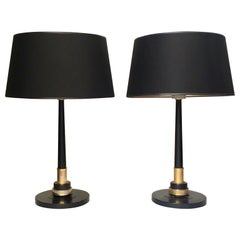 """Pair of French Brass and Lacquered Metal """"Jumo"""" Table Lamps"""