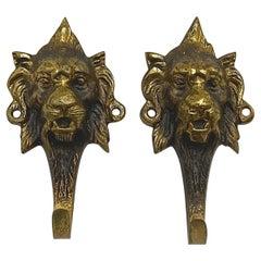 Pair French Brass Lion Head Design Single Hooks