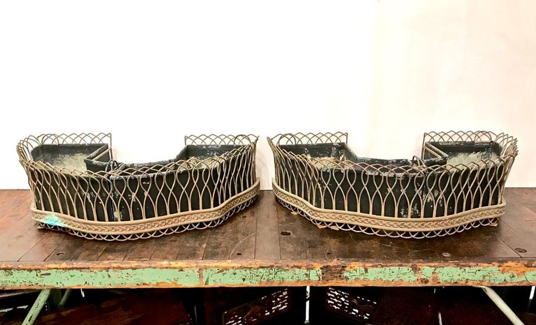 Pair of French Bronze and Wire Planters For Sale 5