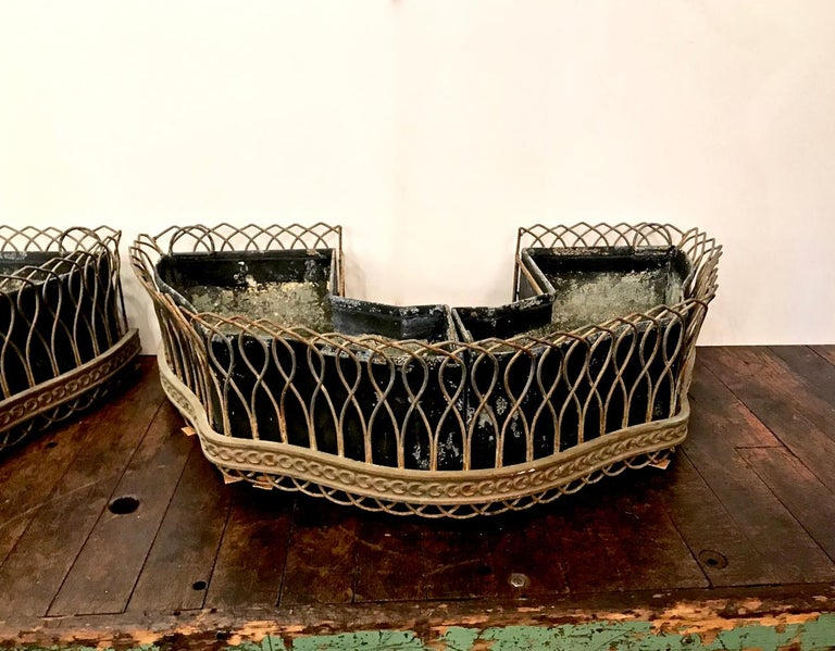 Belle Époque Pair of French Bronze and Wire Planters For Sale