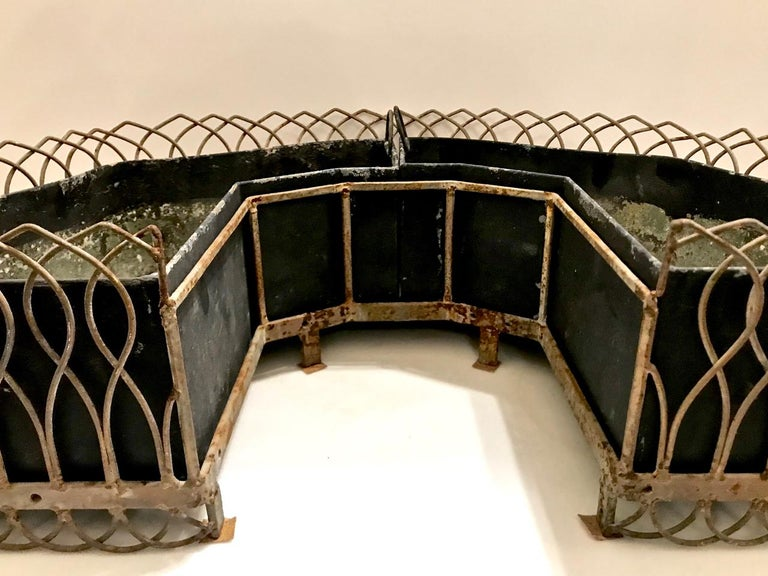 20th Century Pair of French Bronze and Wire Planters For Sale