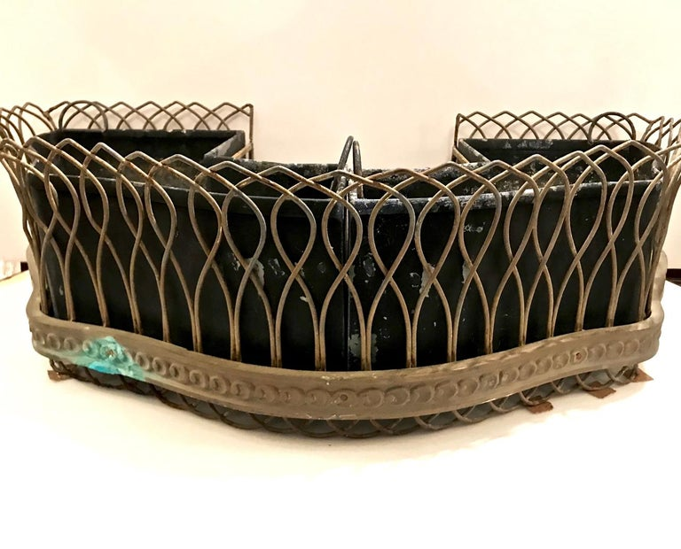 Pair of French Bronze and Wire Planters For Sale 3