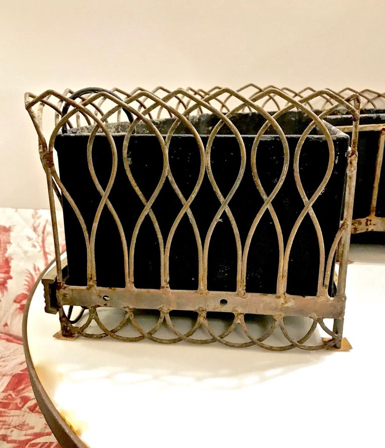 Pair of French Bronze and Wire Planters For Sale 4