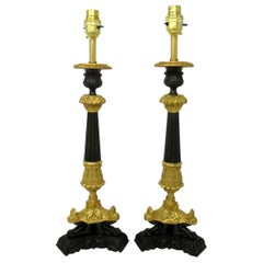 Pair of French Dore Neoclassical Ormolu Table Candlestick Lamps 19th Century