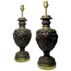 Pair of French Bronze Electric Table Lamps Manner Claude Michel Cloion