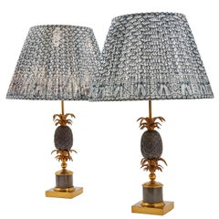 Pair of French Bronze Maison Charles Pineapple Lamps, circa 1960