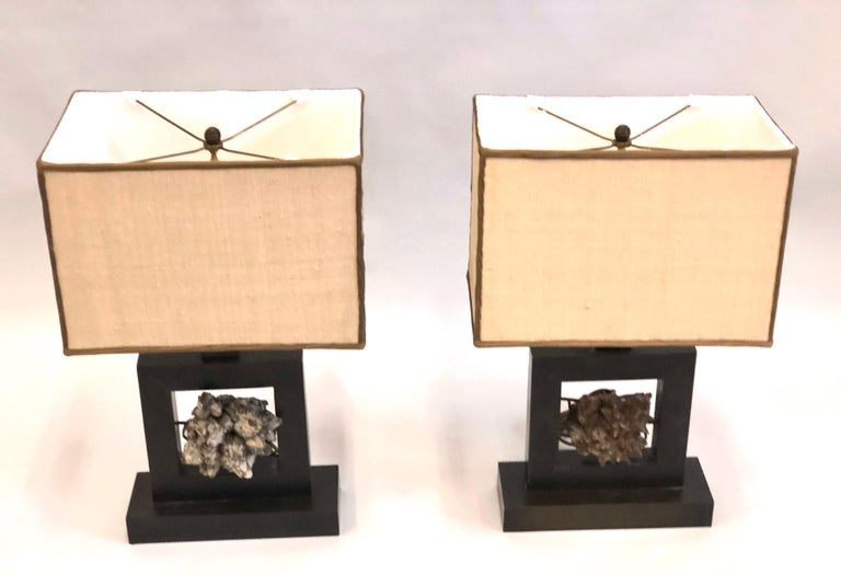 Mid-Century Modern Pair of French Bronze & Rock Crystal Mineral Geode Table Lamps, Marc Du Plantier For Sale
