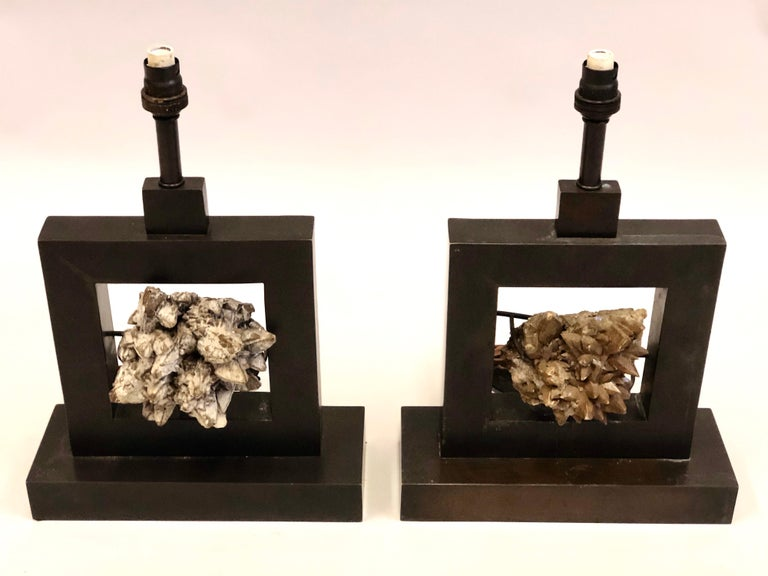 Bronzed Pair of French Bronze & Rock Crystal Mineral Geode Table Lamps, Marc Du Plantier For Sale