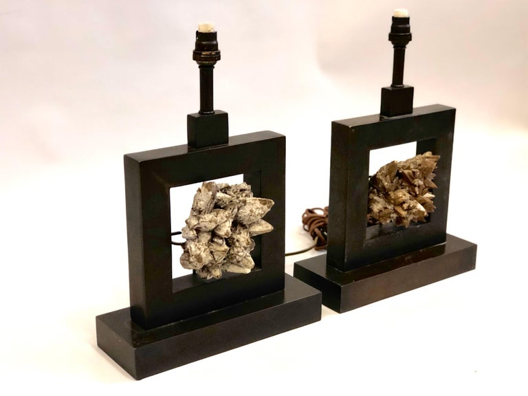 Pair of French Bronze & Rock Crystal Mineral Geode Table Lamps, Marc Du Plantier In Good Condition For Sale In New York, NY