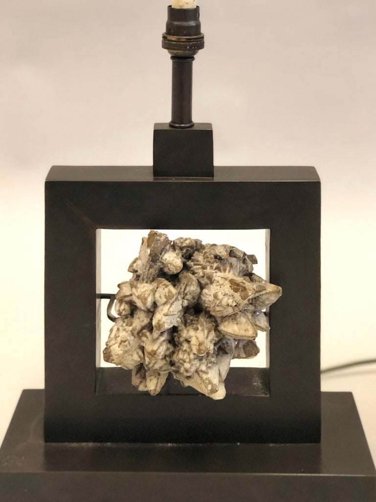 20th Century Pair of French Bronze & Rock Crystal Mineral Geode Table Lamps, Marc Du Plantier For Sale