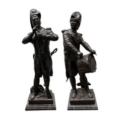 Pair of French Bronze Soldiers Battle Waterloo Napoleon Military, 20th Century