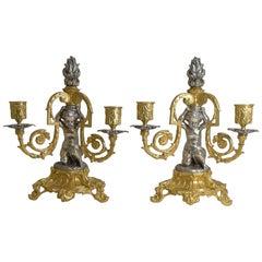 French Bronze Three Branch Candlesticks / Candelabra, Cherubs, circa 1870, Pair