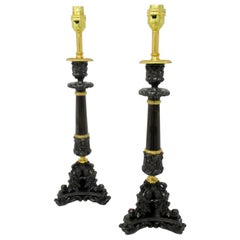 Pair of French Bronzed Neoclassical Ormolu Table Candlestick Lamps, 19th Century