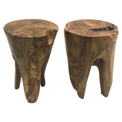 Pair of Brutalist Hand Carved Stools or Side Tables, Style of Alexandre Noll