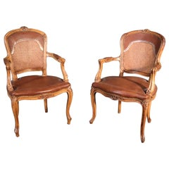 Pair of French Carved Caned Back French Louis XV Armchairs Fauteuils, circa 1940
