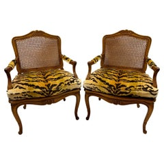 Pair of French Carved Fruitwood and Caned Fauteuils in Italian Silk Tiger Velvet