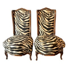 Pair of Louis XV-Style Carved Walnut Chauffeuses