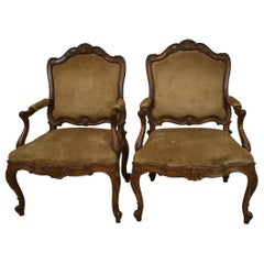 Pair of French Carved Wood Armchair Suede Upholstery