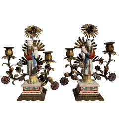 Pair of French Chinoiserie Candelabra Attributed to Samson, Early 20th Century