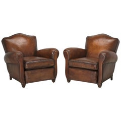 Pair French Club Chairs Restored Correctly from the Frame Up in Original Leather