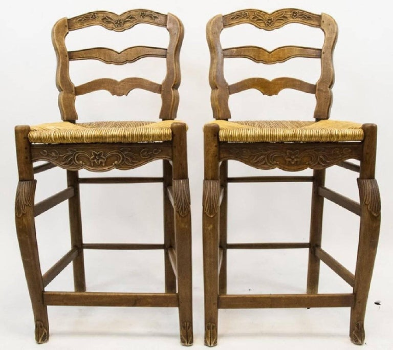 Remarkable Pair Of French Country Ladder Back Bar Stools Inzonedesignstudio Interior Chair Design Inzonedesignstudiocom