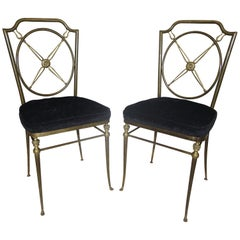 Pair French Directoire Style Bronze Paw Feet Side Chairs