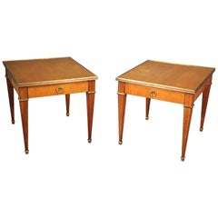 Pair of French Directoire Style Cherry Brass Mounted Baker End Occasional Tables