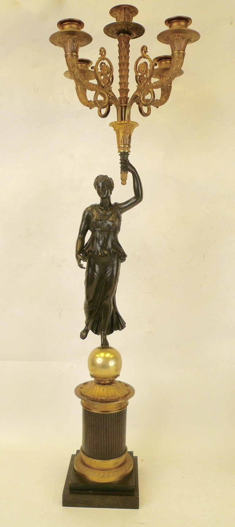 Gilt Pair of French Empire Figural Bronze Candelabra by Claude Francois Rabiat