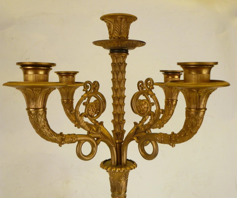Pair of French Empire Figural Bronze Candelabra by Claude Francois Rabiat 4