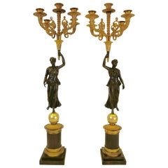 Pair of French Empire Figural Bronze Candelabra by Claude Francois Rabiat