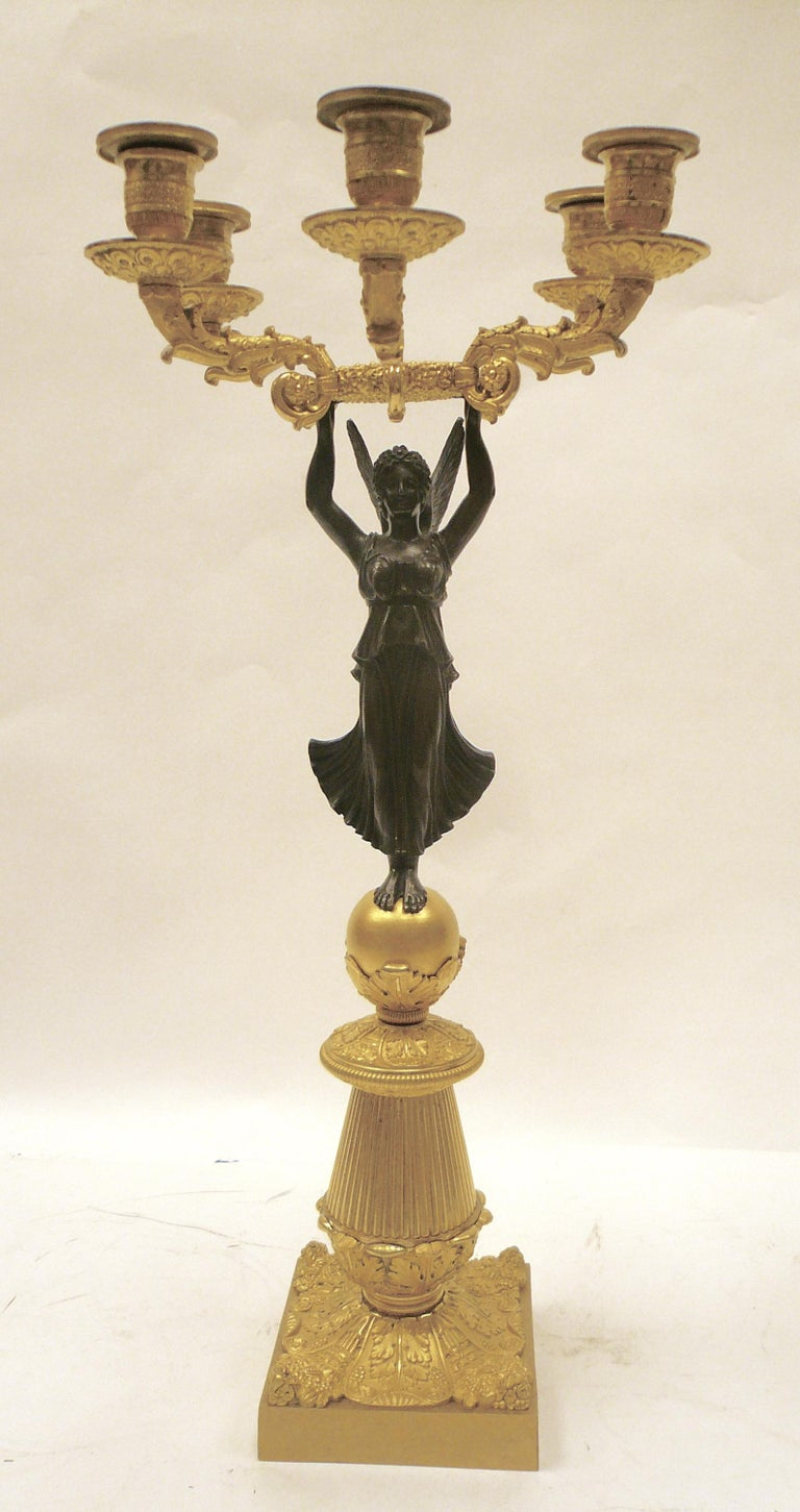 French Empire Figural Ormolu and Patinated Bronze Candelabra, Signed Mene, Pair For Sale 8