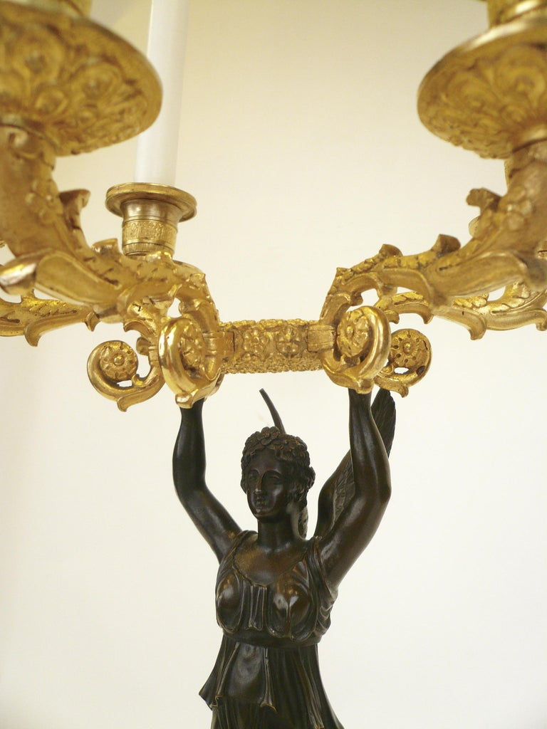 19th Century French Empire Figural Ormolu and Patinated Bronze Candelabra, Signed Mene, Pair For Sale