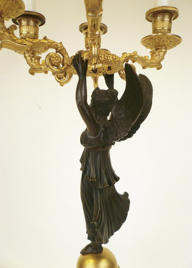 French Empire Figural Ormolu and Patinated Bronze Candelabra, Signed Mene, Pair For Sale 4