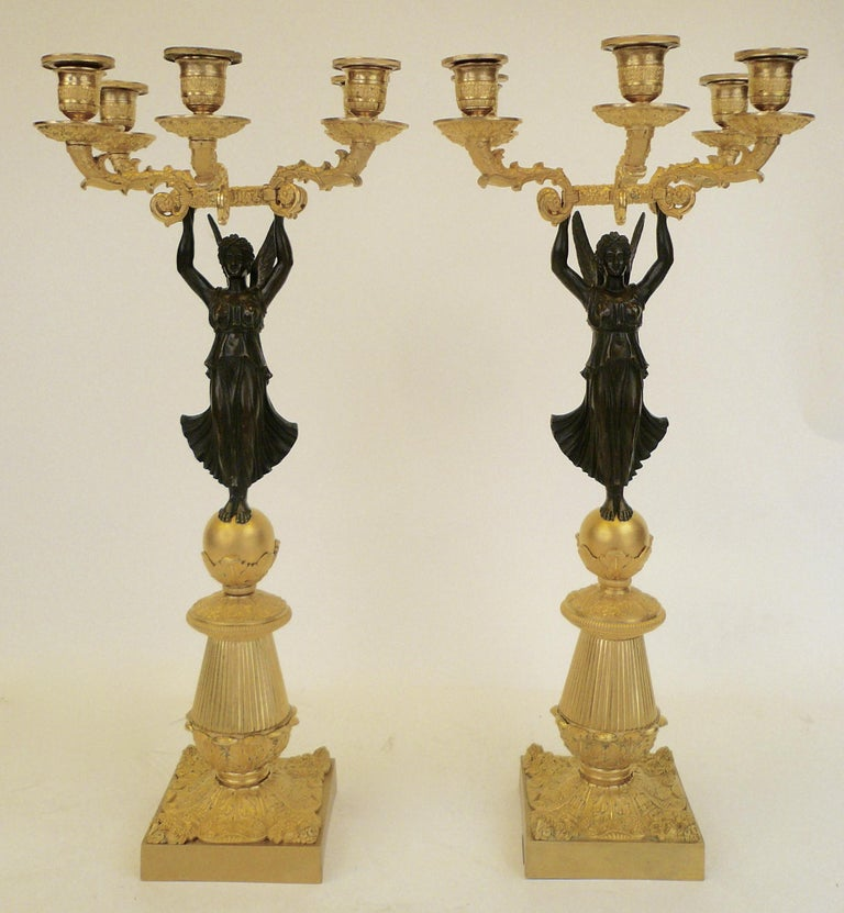 French Empire Figural Ormolu and Patinated Bronze Candelabra, Signed Mene, Pair For Sale 5