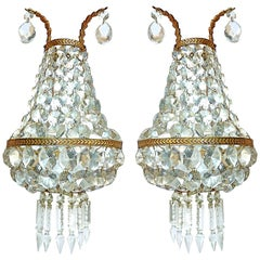 French Empire Gilt Bronze Mirrored Crystal Double Light Sconces Wall Lights Pair