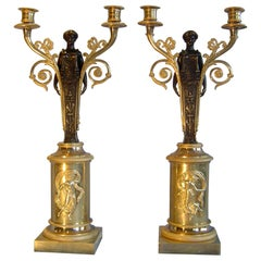 Pair of French Empire Ormolu and Patinated Bronze Two Branch Candelabra