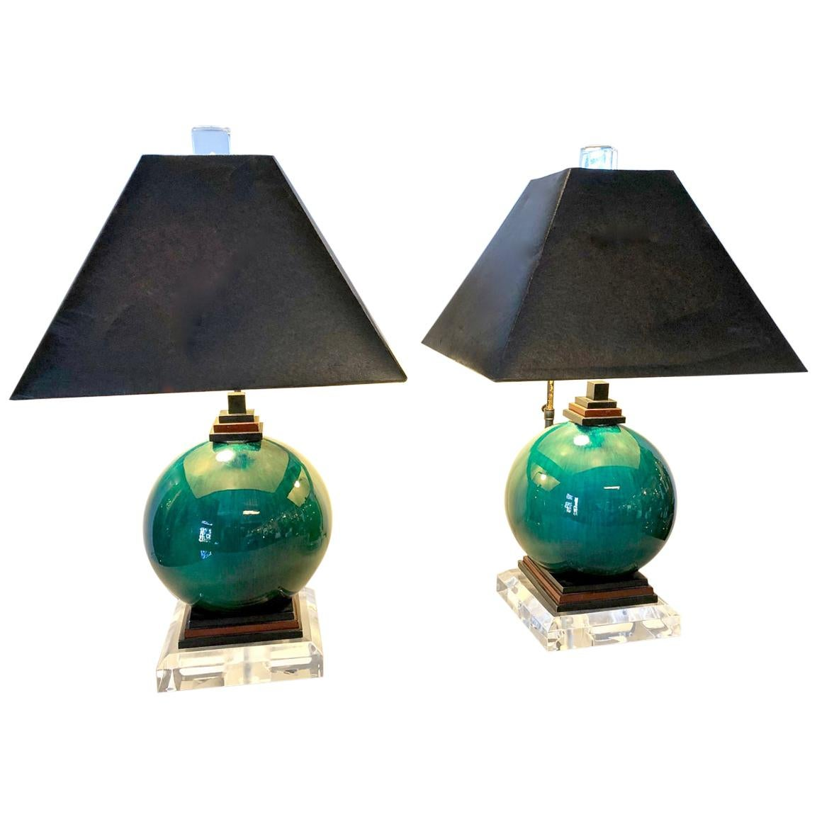 Pair French Flambe Glazed Lamps