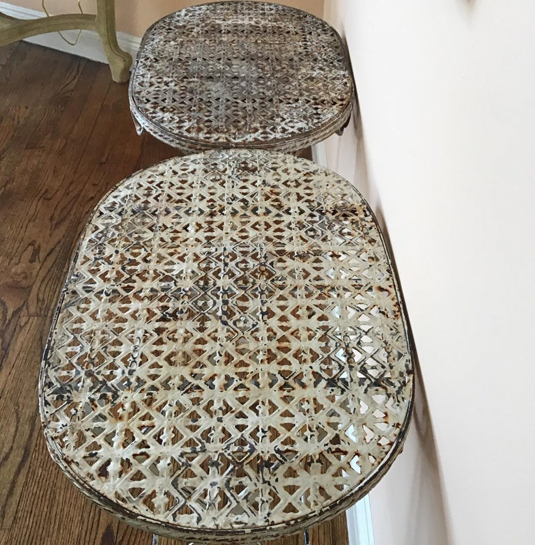 Pair of French Folding Garden Tables For Sale 5