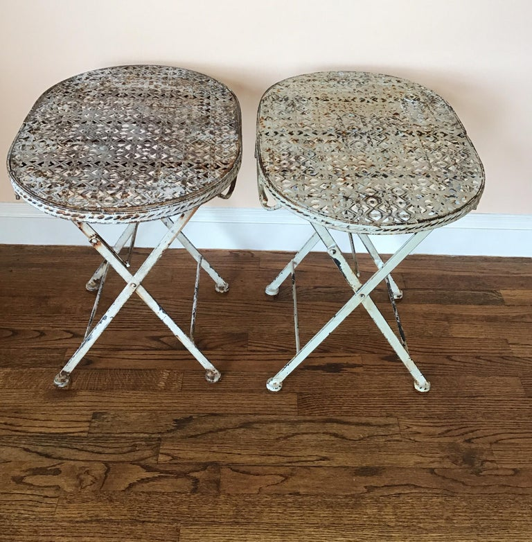 Pair of French Folding Garden Tables For Sale 6