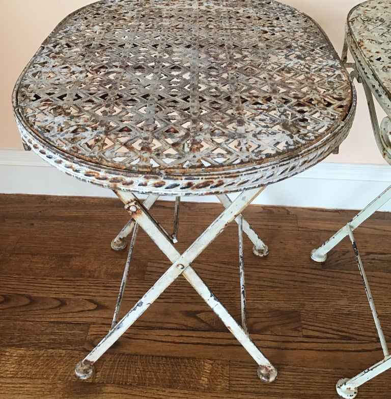Pair of French Folding Garden Tables For Sale 7