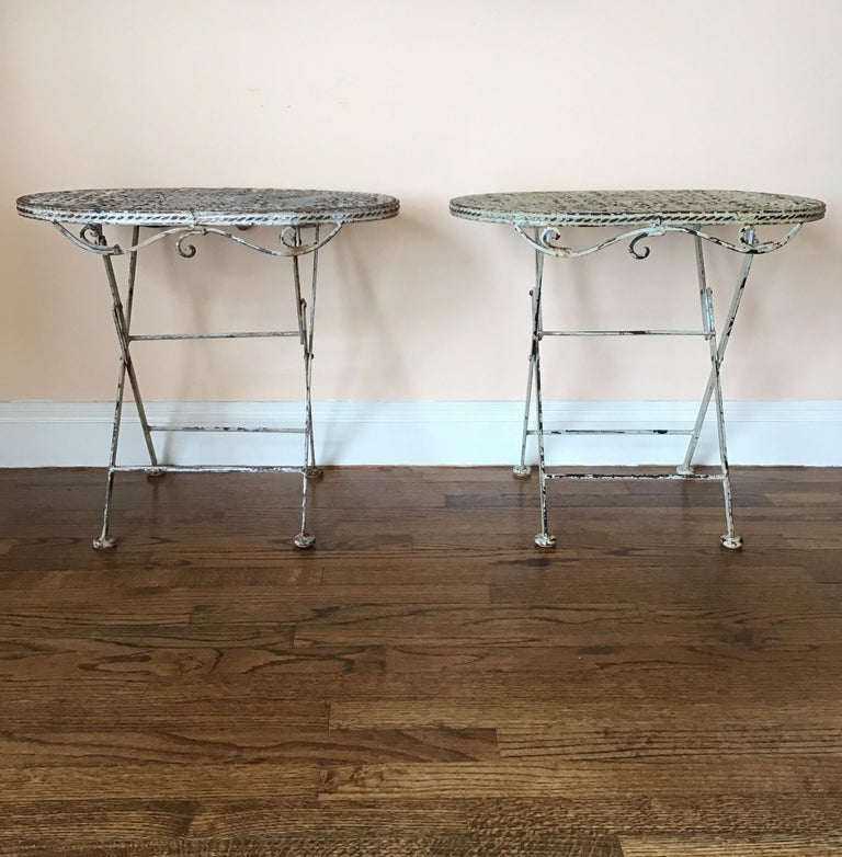 Pair of French Folding Garden Tables In Good Condition For Sale In Douglas Manor, NY