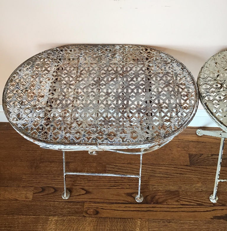 Early 20th Century Pair of French Folding Garden Tables For Sale
