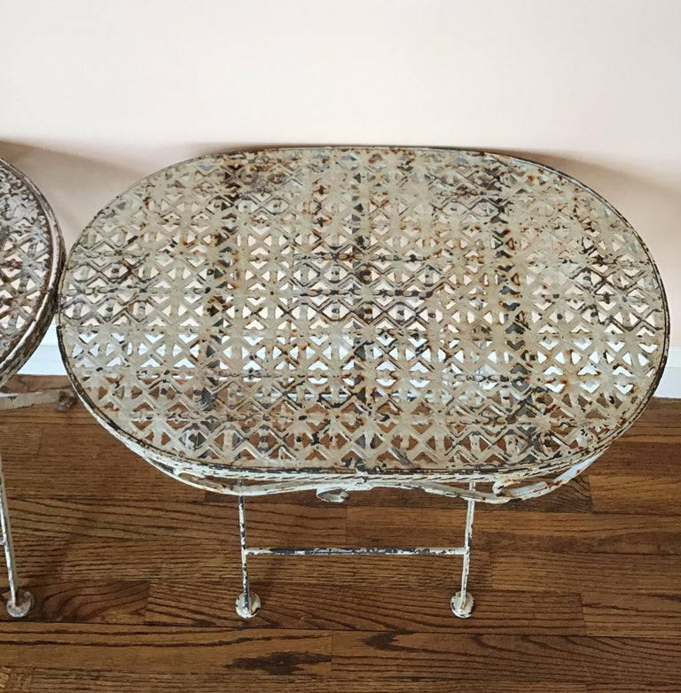 Metal Pair of French Folding Garden Tables For Sale