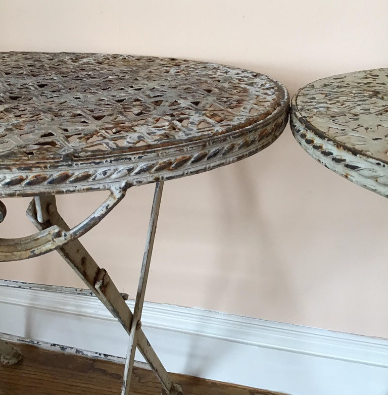Pair of French Folding Garden Tables For Sale 1