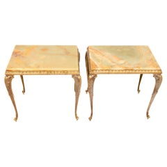 Pair French Gilt Brass and Onyx Side Lamp Tables, c.1940