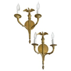 Pair French Gilt Bronze Eagle Wall Sconces