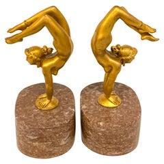 Pair of Gilt Bronze Female Nude Acrobat Bookends Rockefeller-Dodge Estate