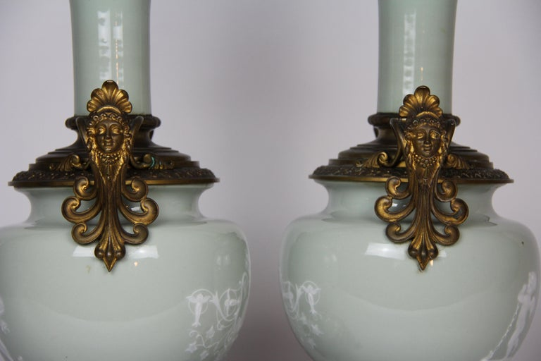 French Gilt Bronze Mounted Double-Sided Pate Sur Pate Celadon Ground Lamps, Pair For Sale 5