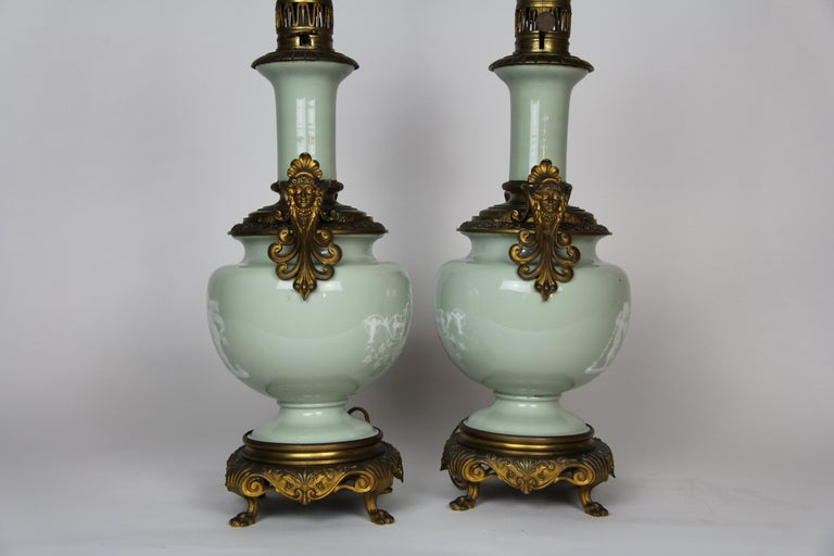 French Gilt Bronze Mounted Double-Sided Pate Sur Pate Celadon Ground Lamps, Pair For Sale 6