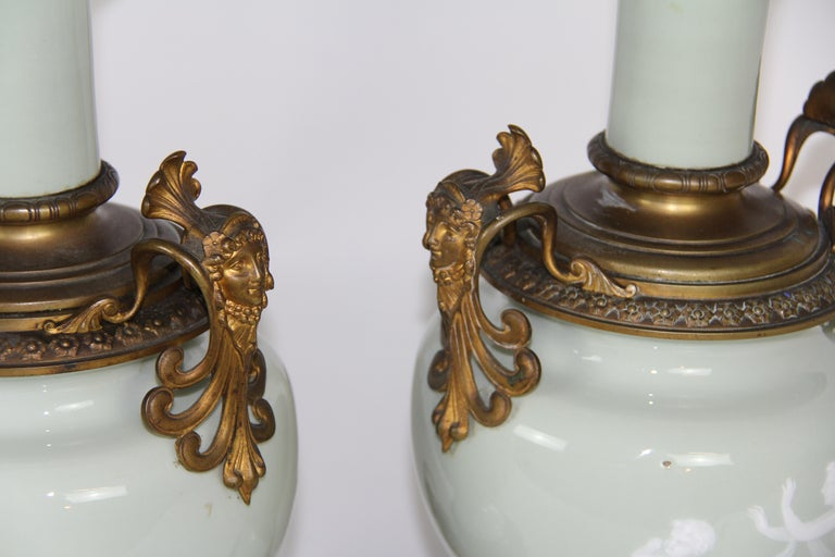 French Gilt Bronze Mounted Double-Sided Pate Sur Pate Celadon Ground Lamps, Pair For Sale 7